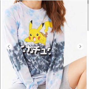 F21 tie dye Pikachu long sleeve t-shirt